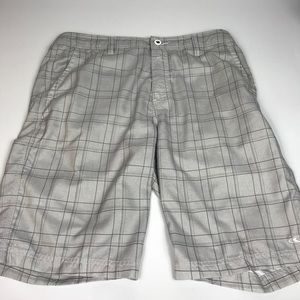 O'Neill Hybrid Plaid Gray Shorts Mens Size 34
